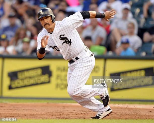 Tyler Saladino of the Chicago White Sox runs the bases against the Toronto Blue Jays on August 1 2017 at Guaranteed Rate Field in Chicago Illinois