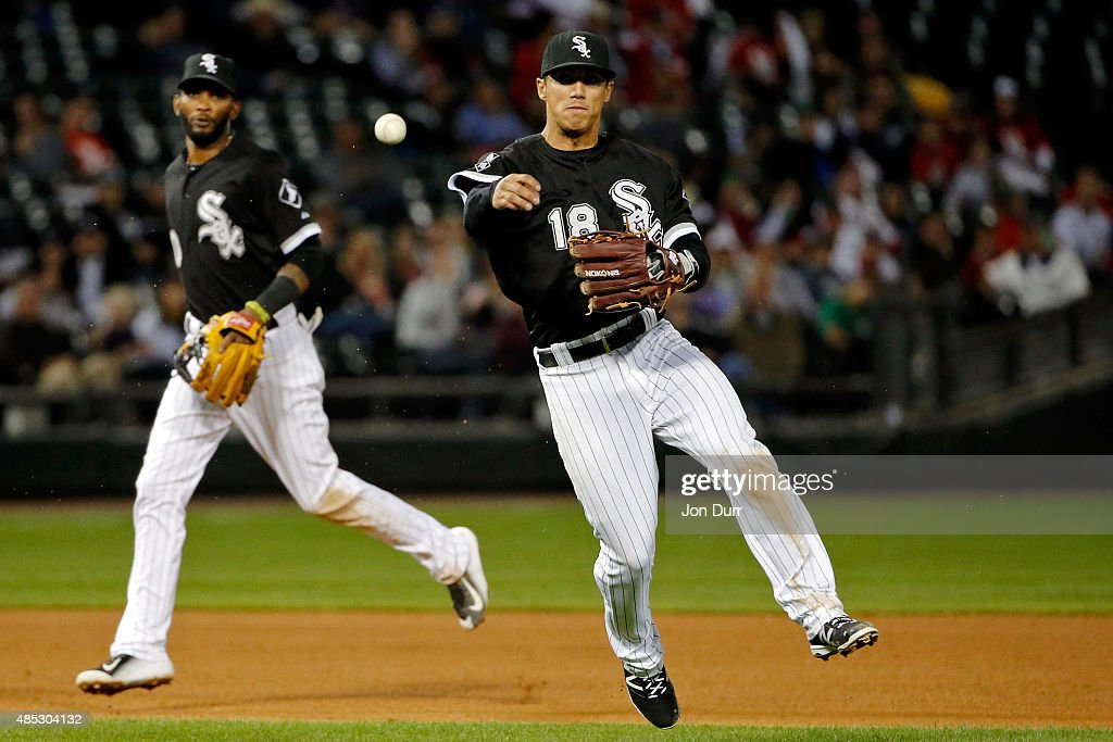 Tyler Saladino #18 of the Chicago White Sox throws to first base for the out against the Boston Red Sox during the ninth inning at U.S. Cellular Field on August 26, 2015 in Chicago, Illinois.
