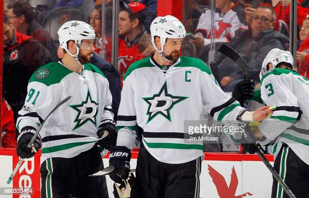 Tyler Seguin and Jamie Benn of the Dallas Stars in action against the New Jersey Devils on March 26 2017 at Prudential Center in Newark New Jersey...