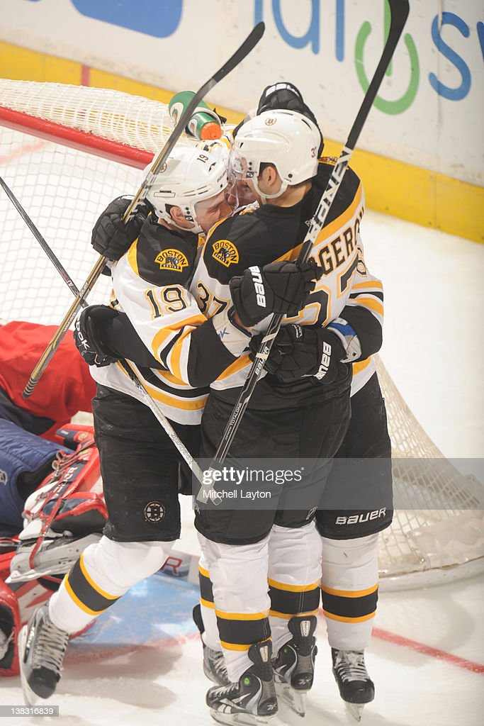 <a gi-track='captionPersonalityLinkClicked' href=/galleries/search?phrase=Tyler+Seguin&family=editorial&specificpeople=6698848 ng-click='$event.stopPropagation()'>Tyler Seguin</a> #19 and <a gi-track='captionPersonalityLinkClicked' href=/galleries/search?phrase=Patrice+Bergeron&family=editorial&specificpeople=204162 ng-click='$event.stopPropagation()'>Patrice Bergeron</a> #37 of the Boston Bruins celebrates teams third goal during the third period of a an NHL hockey game against the Washington Capitals on February 5, 2012 at the Verizon Center in Washington, DC.