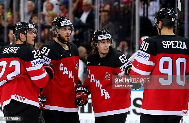 Tyler Seguin of Canada celebrate with his team mates after scoring the 4th goal during the IIHF World Championship quarter final match between Canada...