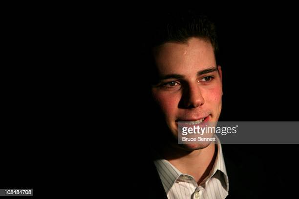 Tyler Seguin of the Boston Bruins answers questions during NHL All Star Player Media Availability apart of the 2011 NHL AllStar Weekend at the...