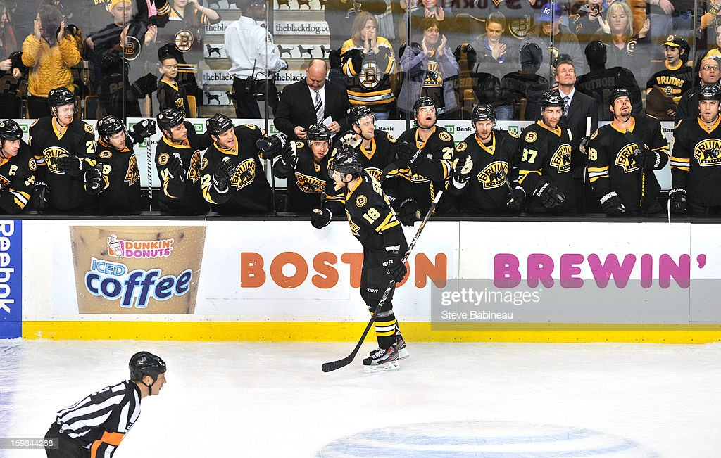 <a gi-track='captionPersonalityLinkClicked' href=/galleries/search?phrase=Tyler+Seguin&family=editorial&specificpeople=6698848 ng-click='$event.stopPropagation()'>Tyler Seguin</a> #19 of the Boston Bruins celebrates his shoot out goal against the Winnipeg Jets at the TD Garden on January 21, 2013 in Boston, Massachusetts.