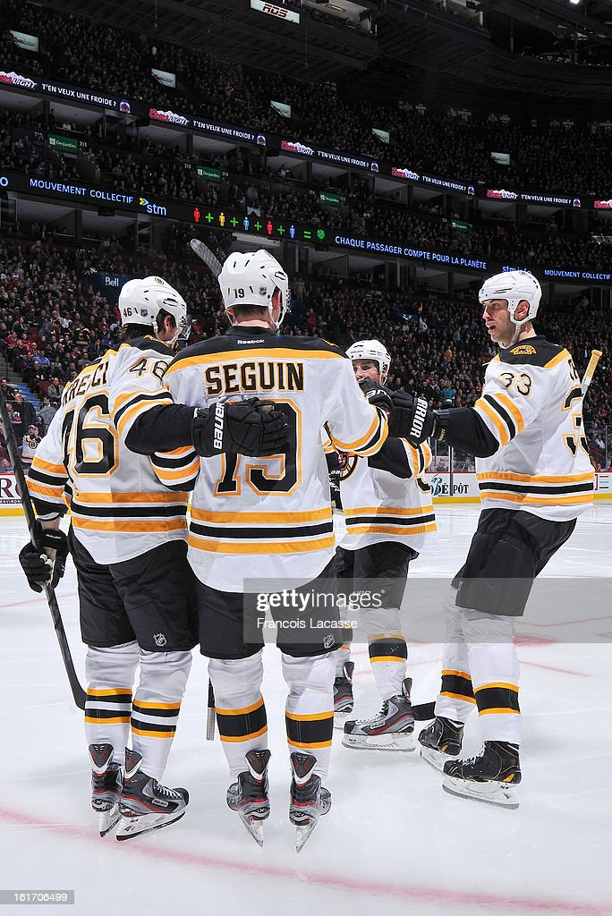 Tyler Seguin #19 of the Boston Bruins celebrates his third period goal with teammates during the NHL game against the Montreal Canadiens on February 6, 2013 at the Bell Centre in Montreal, Quebec, Canada.
