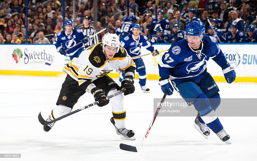 <a gi-track='captionPersonalityLinkClicked' href=/galleries/search?phrase=Tyler+Seguin&family=editorial&specificpeople=6698848 ng-click='$event.stopPropagation()'>Tyler Seguin</a> #19 of the Boston Bruins fights for position with <a gi-track='captionPersonalityLinkClicked' href=/galleries/search?phrase=Marc-Andre+Bergeron&family=editorial&specificpeople=213539 ng-click='$event.stopPropagation()'>Marc-Andre Bergeron</a> #47 of the Tampa Bay Lightning during the second period of the game at the Tampa Bay Times Forum on February 21, 2013 in Tampa, Florida.