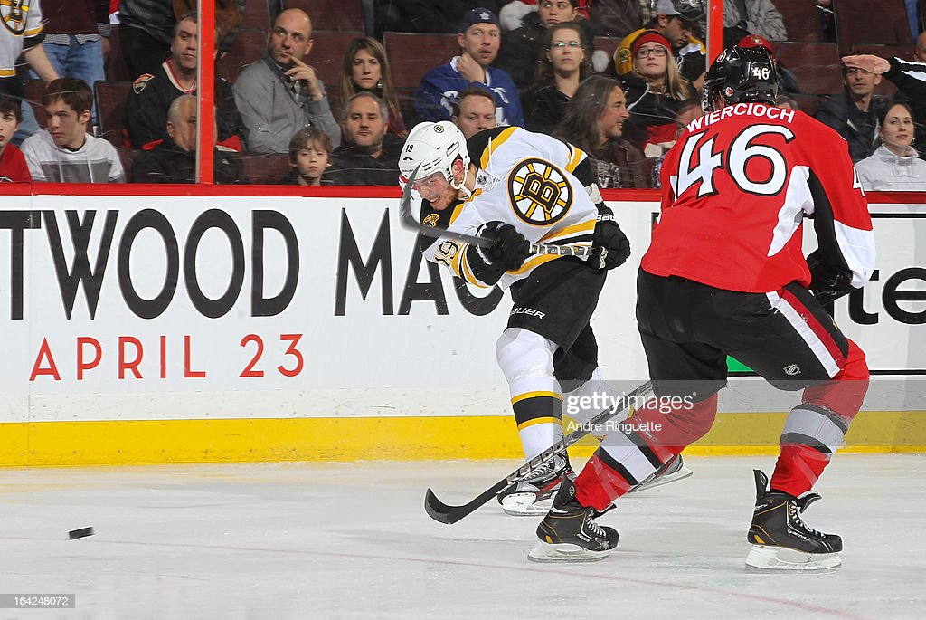 Tyler Seguin #19 of the Boston Bruins fires a slapshot past Patrick Wiercioch #46 of the Ottawa Senators on March 21, 2013 at Scotiabank Place in Ottawa, Ontario, Canada.