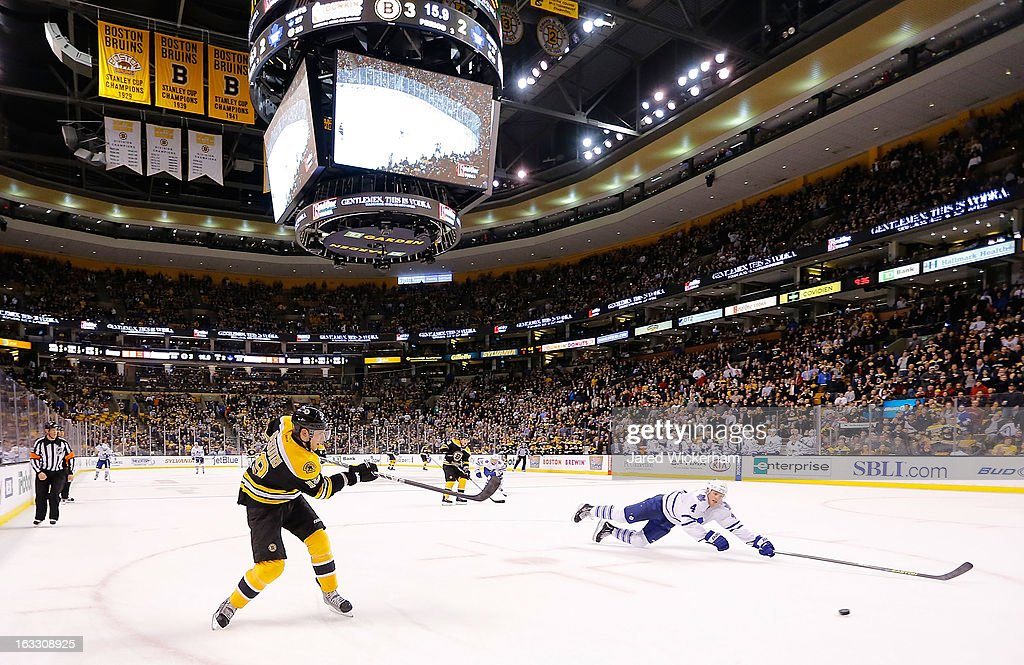 <a gi-track='captionPersonalityLinkClicked' href=/galleries/search?phrase=Tyler+Seguin&family=editorial&specificpeople=6698848 ng-click='$event.stopPropagation()'>Tyler Seguin</a> #19 of the Boston Bruins scores an empty net goal in the third period in front of a diving <a gi-track='captionPersonalityLinkClicked' href=/galleries/search?phrase=Cody+Franson&family=editorial&specificpeople=2125769 ng-click='$event.stopPropagation()'>Cody Franson</a> #4 of the Toronto Maple Leafs during the game on March 7, 2013 at TD Garden in Boston, Massachusetts.