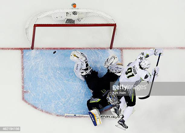 Tyler Seguin of the Dallas Stars and Team Toews scores a goal in the third period against Brian Elliott of the St Louis Blues and Team Foligno during...