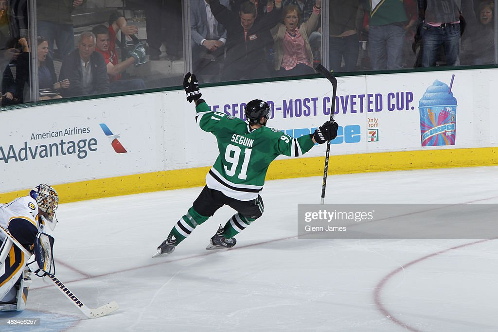 <a gi-track='captionPersonalityLinkClicked' href=/galleries/search?phrase=Tyler+Seguin&family=editorial&specificpeople=6698848 ng-click='$event.stopPropagation()'>Tyler Seguin</a> #91 of the Dallas Stars celebrates the game winning shoot-out goal against <a gi-track='captionPersonalityLinkClicked' href=/galleries/search?phrase=Pekka+Rinne&family=editorial&specificpeople=2118342 ng-click='$event.stopPropagation()'>Pekka Rinne</a> #35 of the Nashville Predators at the American Airlines Center on April 8, 2014 in Dallas, Texas.