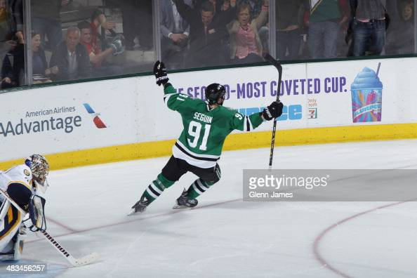 Tyler Seguin of the Dallas Stars celebrates the game winning shootout goal against Pekka Rinne of the Nashville Predators at the American Airlines...