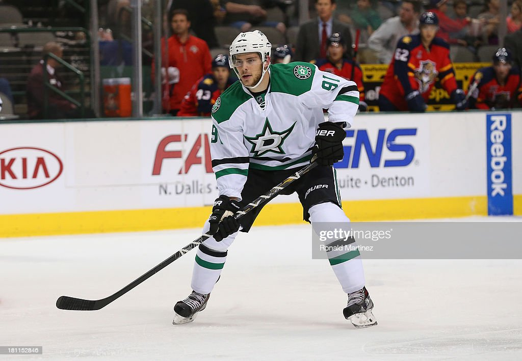 <a gi-track='captionPersonalityLinkClicked' href=/galleries/search?phrase=Tyler+Seguin&family=editorial&specificpeople=6698848 ng-click='$event.stopPropagation()'>Tyler Seguin</a> #91 of the Dallas Stars during a preseason game at American Airlines Center on September 18, 2013 in Dallas, Texas.