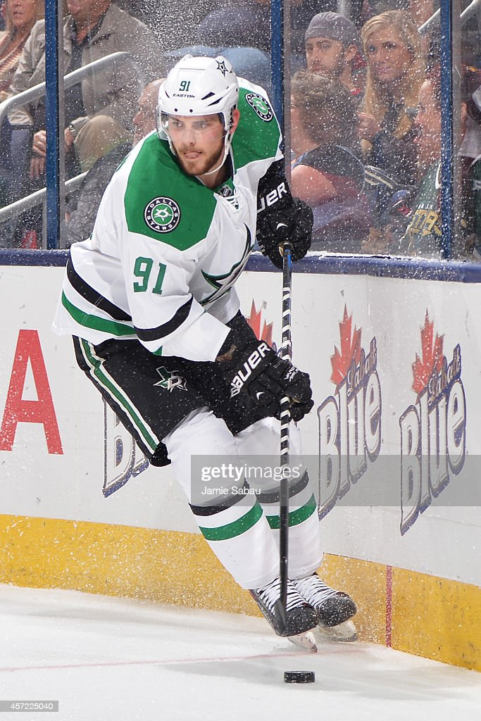Tyler Seguin #91 of the Dallas Stars skates with the puck during the second period of a game against the Columbus Blue Jackets on October 14, 2014 at Nationwide Arena in Columbus, Ohio.