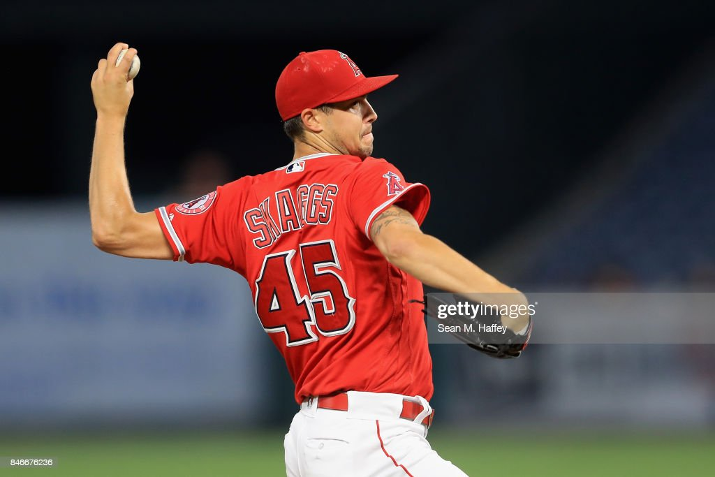 Tyler Skaggs #45 of the Los Angeles Angels of Anaheim pitches during the first inning of a game against the Houston Astros at Angel Stadium of Anaheim on September 13, 2017 in Anaheim, California.