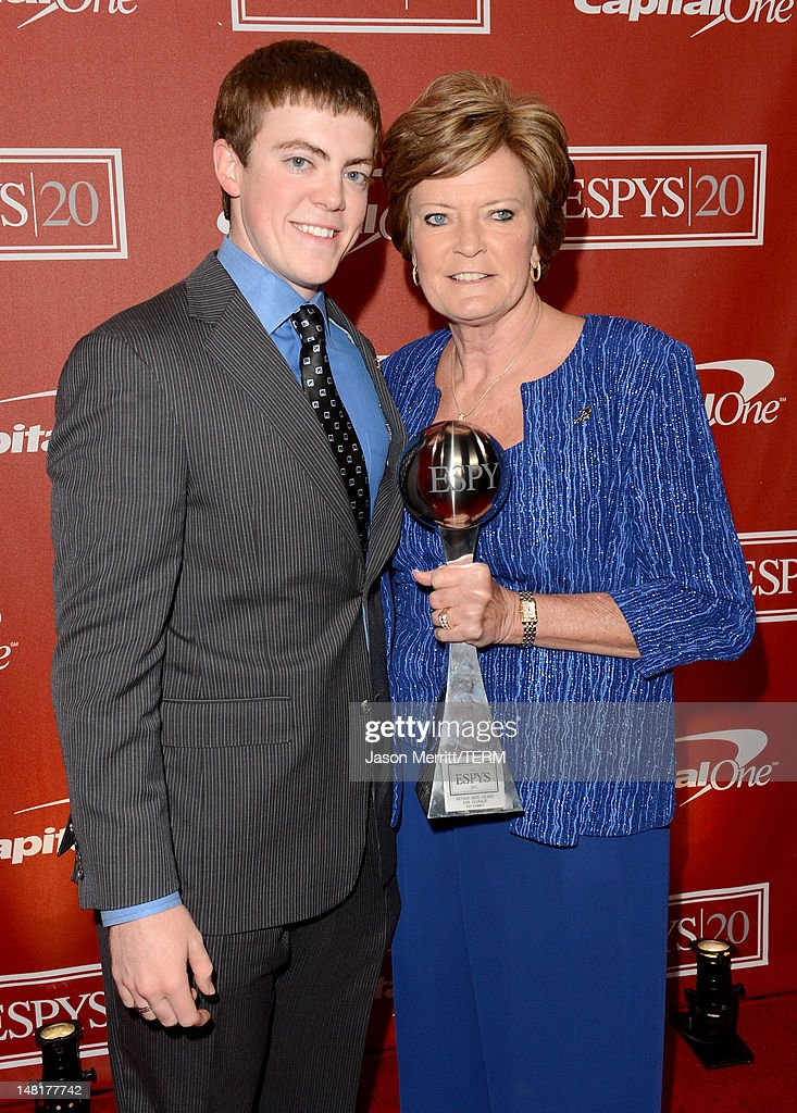 Tyler Summitt (L) and former women's college basketball head coach <a gi-track='captionPersonalityLinkClicked' href=/galleries/search?phrase=Pat+Summitt&family=editorial&specificpeople=718767 ng-click='$event.stopPropagation()'>Pat Summitt</a>, recipient of the Arthur Ashe Courage Award pose backstage during the 2012 ESPY Awards at Nokia Theatre L.A. Live on July 11, 2012 in Los Angeles, California.