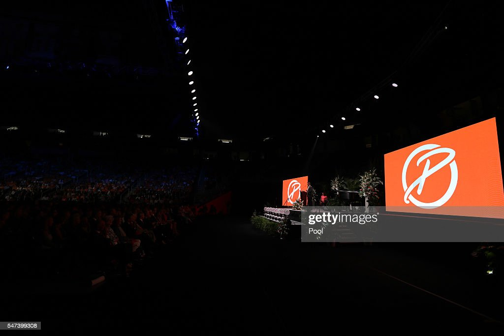 Tyler Summitt delivers a eulogy during the Pat Summitt Celebration of Life at ThompsonBoling Arena on July 14 2016 in Knoxville Tennessee Summitt...