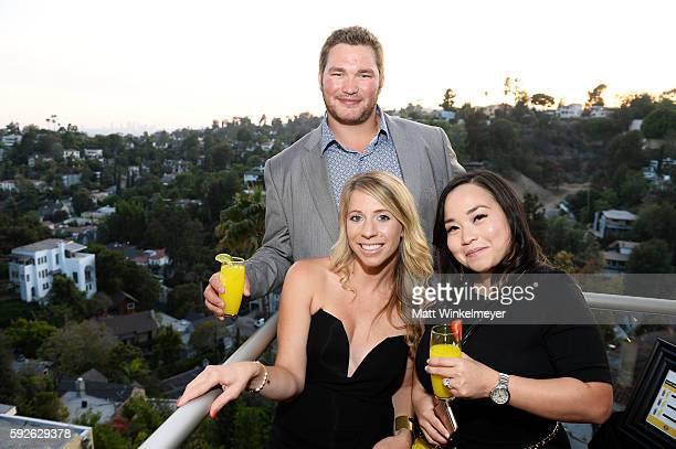 Tyler Szczesny Trisha Byer and Denise Reeves attend ARYA Curcumin Presents The Yellow Social at Private Residence on August 20 2016 in Los Angeles...