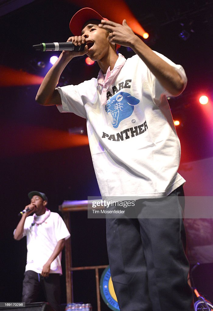 Tyler, The Creator (L) and <a gi-track='captionPersonalityLinkClicked' href=/galleries/search?phrase=Earl+Sweatshirt&family=editorial&specificpeople=9601494 ng-click='$event.stopPropagation()'>Earl Sweatshirt</a> of Tyler, The Creator & <a gi-track='captionPersonalityLinkClicked' href=/galleries/search?phrase=Earl+Sweatshirt&family=editorial&specificpeople=9601494 ng-click='$event.stopPropagation()'>Earl Sweatshirt</a> perform in support of Tyler's 'The Wolf' release at The Regency Ballroom on May 20, 2013 in San Francisco, California.