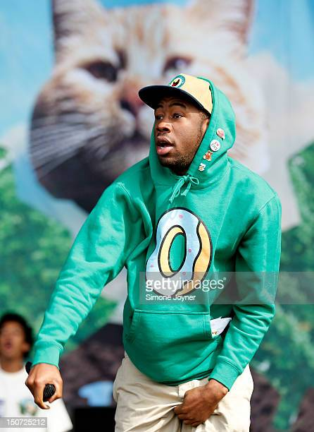 Tyler the Creator of Odd Future Wolf Gang Kill Them All performs live on the Main Stage on Day Two during the Reading Festival 2012 at Richfield...