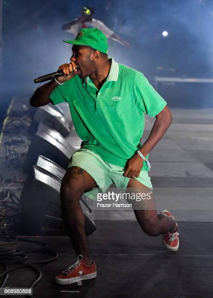 Tyler the Creator performs at the Outdoor Stage during day 2 of the Coachella Valley Music And Arts Festival at the Empire Polo Club on April 15 2017...