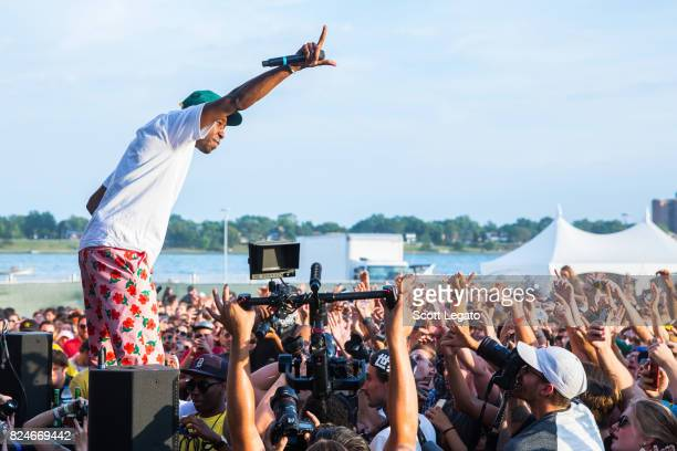 Tyler The Creator performs during day 2 of the Mo Pop Festival at Detroit Riverfront on July 30 2017 in Detroit Michigan