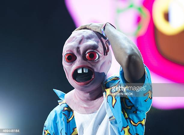 Tyler the Creator performs on the second day of the Coachella Music Festival in Indio California on April 11 2015 AFP PHOTO / ROBYN BECK