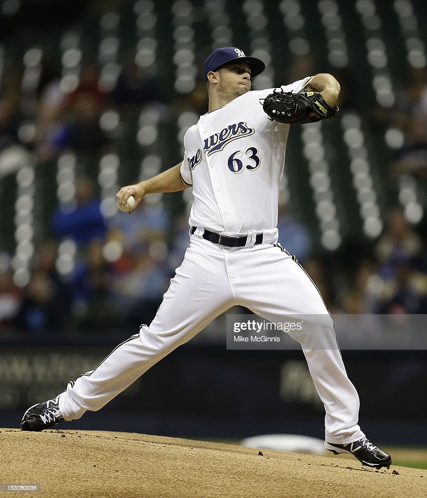 Tyler Thornburg #63 of the Milwaukee Brewers pitches against the San Diego Padres during the game at Miller Park on October 2, 2012 in Milwaukee, Wisconsin.