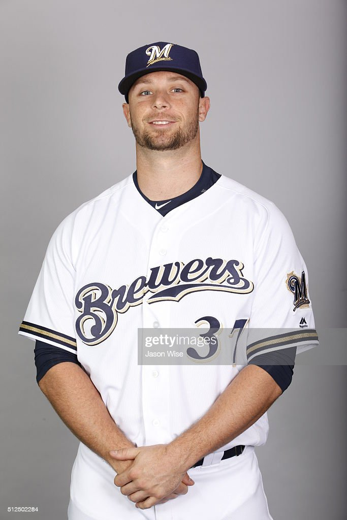 Tyler Thornburg #37 of the Milwaukee Brewers poses during Photo Day on Friday, February 26, 2016 at Maryvale Baseball Park in Phoenix, Arizona.