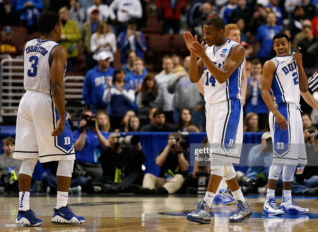 Tyler Thornton #3 and Rasheed Sulaimon #14 of the Duke Blue Devils celebrate in the second half while taking on the Creighton Bluejays during the third round of the 2013 NCAA Men's Basketball Tournament at Wells Fargo Center on March 24, 2013 in Philadelphia, Pennsylvania.