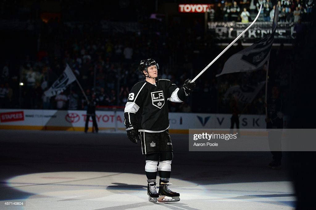 Tyler Toffoli #73 of the Los Angeles Kings acknowledges the crowd after a game against the Winnipeg Jets at STAPLES Center on September 12, 2014 in Los Angeles, California.