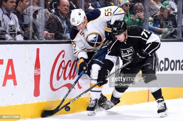 Tyler Toffoli of the Los Angeles Kings battles for the puck against Rasmus Ristolainen of the Buffalo Sabres during the game on March 16 2017 at...
