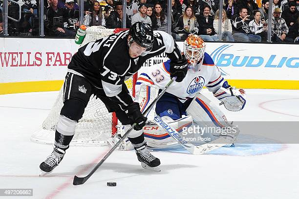 Tyler Toffoli of the Los Angeles Kings handles the puck against Cam Talbot of the Edmonton Oilers at STAPLES Center on November 14 2015 in Los...
