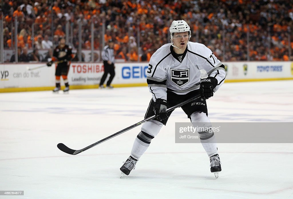 <a gi-track='captionPersonalityLinkClicked' href=/galleries/search?phrase=Tyler+Toffoli&family=editorial&specificpeople=6514151 ng-click='$event.stopPropagation()'>Tyler Toffoli</a> #73 of the Los Angeles Kings skates against the Anaheim Ducks in Game One of the Second Round of the 2014 NHL Stanley Cup Playoffs at Honda Center on May 3, 2014 in Anaheim, California.
