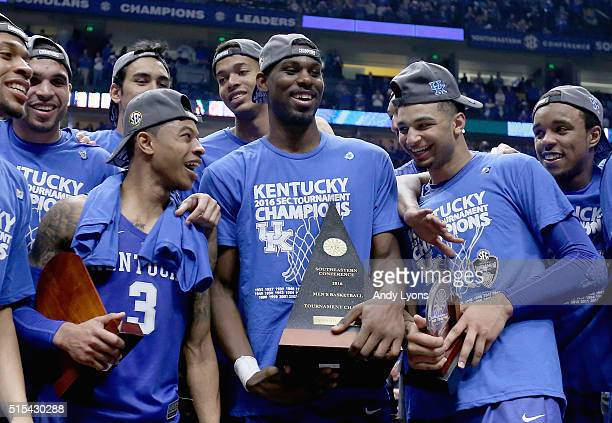 Tyler Ulis Alex Poythress and Jamal Murray of the Kentucky Wildcats celebrate after the 8277 OT win over the Texas AM Aggies in the Championship Game...