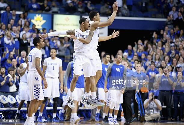 Tyler Ulis and Isaiah Briscoe of the Kentucky Wildcats celebrate during the game against the Vanderbilt Commodores at Rupp Arena on January 23 2016...