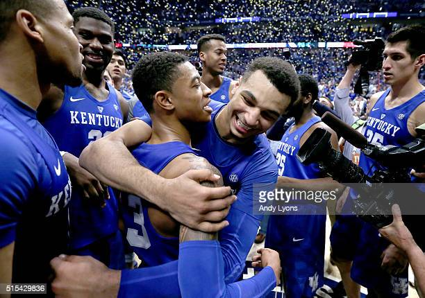 Tyler Ulis and Jamal Murray of the Kentucky Wildcats celebrate after the 8277 OT win over the Texas AM Aggies in the Championship Game of the SEC...