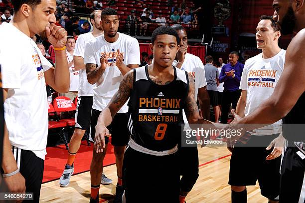 Tyler Ulis of Phoenix Suns gets introduced before the game against the Boston Celtics during the 2016 NBA Las Vegas Summer League on July 10 2016 at...