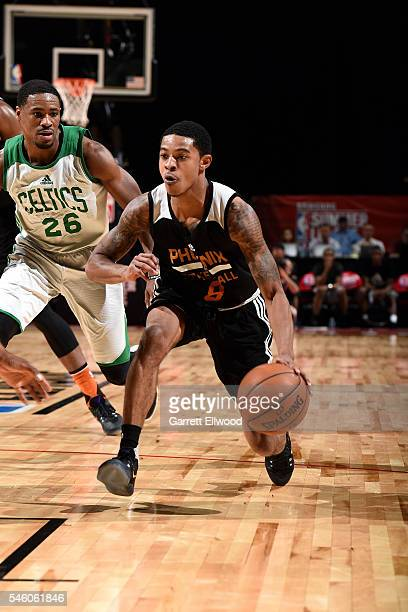 Tyler Ulis of Phoenix Suns handles the ball during the game against the Boston Celtics during the 2016 NBA Las Vegas Summer League on July 10 2016 at...
