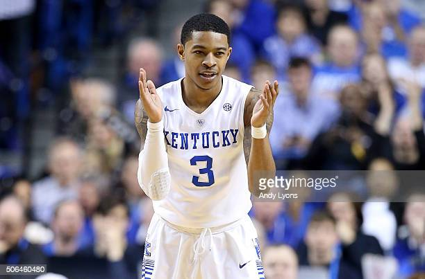 Tyler Ulis of the Kentucky Wildcats celebrates against the Vanderbilt Commodores at Rupp Arena on January 23 2016 in Lexington Kentucky