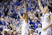 Tyler Ulis of the Kentucky Wildcats celebrates during the game against the Auburn Tigers at Rupp Arena on February 21 2015 in Lexington Kentucky
