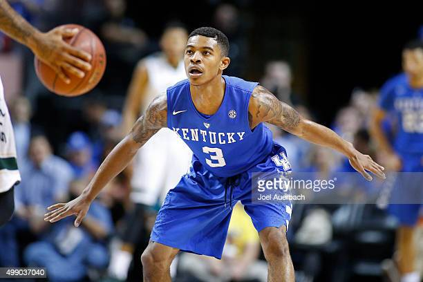 Tyler Ulis of the Kentucky Wildcats defends against the South Florida Bulls on November 27 2015 at the American Airlines Arena in Miami Florida...