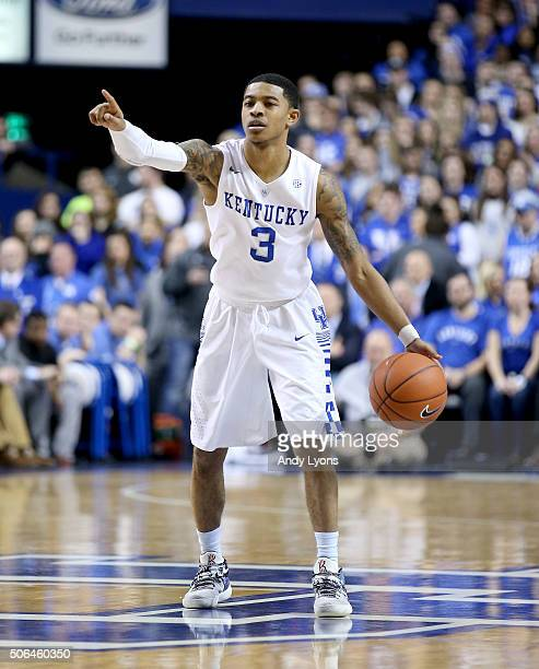 Tyler Ulis of the Kentucky Wildcats dribbles the ball against the Vanderbilt Commodores at Rupp Arena on January 23 2016 in Lexington Kentucky