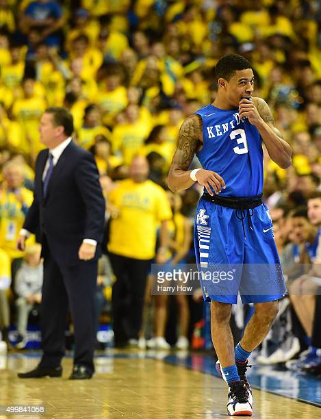 Tyler Ulis of the Kentucky Wildcats reacts in the final seconds as UCLA beats Kentucky Wildcats 8777 at Pauley Pavilion on December 3 2015 in Los...