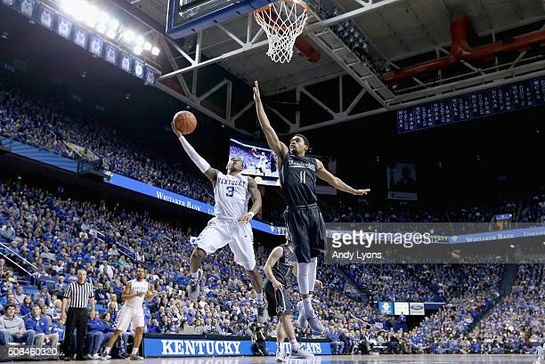 Tyler Ulis of the Kentucky Wildcats shoots the ball against the Vanderbilt Commodores at Rupp Arena on January 23 2016 in Lexington Kentucky