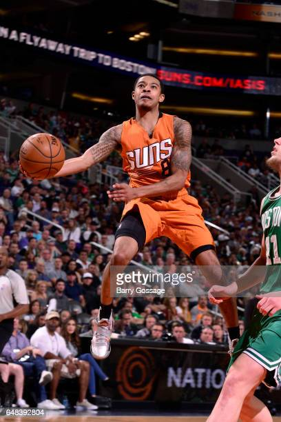 Tyler Ulis of the Phoenix Suns goes for a lay up during the game against the Boston Celtics on March 5 2017 at US Airways Center in Phoenix Arizona...