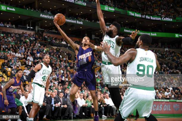 Tyler Ulis of the Phoenix Suns goes to the basket against the Boston Celtics on March 24 2017 at the TD Garden in Boston Massachusetts NOTE TO USER...