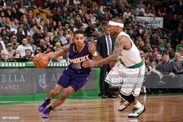 Tyler Ulis of the Phoenix Suns handles the ball against the Boston Celtics on March 24 2017 at the TD Garden in Boston Massachusetts NOTE TO USER...