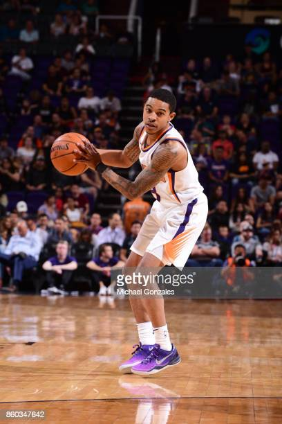 Tyler Ulis of the Phoenix Suns handles the ball against the Portland Trail Blazers during the preseason game on October 11 2017 at Talking Stick...