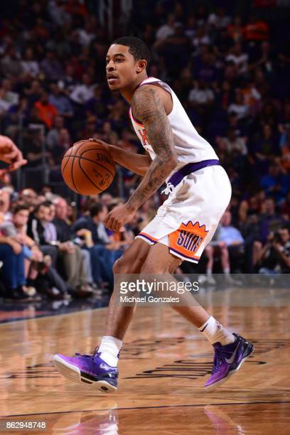 Tyler Ulis of the Phoenix Suns handles the ball against the Portland Trail Blazers on October 18 2017 at Talking Stick Resort Arena in Phoenix...