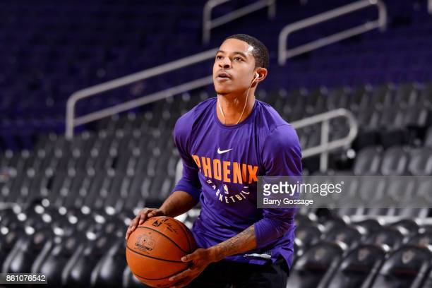 Tyler Ulis of the Phoenix Suns handles the ball before the preseason game against the Brisbane Bullets on October 13 2017 at Talking Stick Resort...