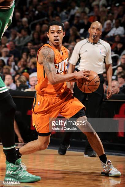 Tyler Ulis of the Phoenix Suns handles the ball during the game against the Boston Celtics on March 5 2017 at US Airways Center in Phoenix Arizona...